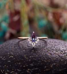Vintage Pear shaped Alexandrite Engagement Ring rose gold ring art deco moissanite ring diamond wedding ring unique ring Anniversary Ring Rose Gold Diamond Ring, Vintage Diamond Rings, Diamond Wedding Rings, Alexandrite Engagement Ring, Rose Gold Engagement Ring, Custom Jewelry, Unique Jewelry, Red Pendants, Bridal Jewelry Sets