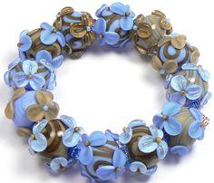 Blue beads - handmade lampwork glass beads by artist Kandice Seeber