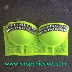 Studded Bustier Longline Bra Crop Top   Neon by ShopChicStud, $40.00