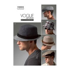 Vogue Accessories Sewing Pattern V8869 SMLXL Men's | Etsy Vogue Patterns, Hat Patterns To Sew, Mccalls Patterns, Vogue Men, Golf Fashion, Men's Fashion, Fashion Vintage, Fedora Hat, Trilby Hats