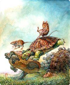 Mice on turtles doing steeplechase?  Very different.  via kidpix: Omar Rayyan