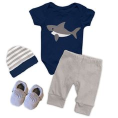 Blue gray shark onesie and pants (includes onesie and pants) don't forget to add the optional matching accessories/items: (Hat, Shoes, Shark Shirt, Shark Baby Minky Blanket and Shark Kids Minky Blanke
