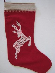 Martha Holiday Embroidered Red Reindeer Christmas Stocking Retail $50