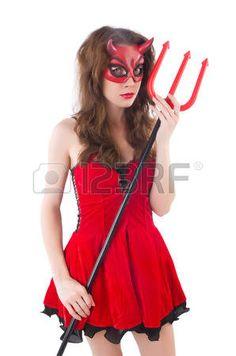 Femme comme diable rouge de Halloween Concept photo