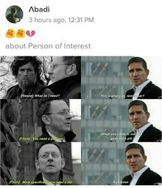 Person of Interest (CBS) Harold Finch and Mr. John Reese: First and Last Episode*sniff*