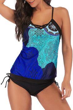 Tankini Swimsuit Black Slit Slashed Neck Flattering M XL L 2XL NEW Women 2 pc