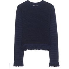 PROENZA SCHOULER Crewneck Navy Black // Pullover with fray hemline (2.330 RON) ❤ liked on Polyvore featuring tops, sweaters, sweater pullover, crew neck pullover sweater, cropped sweater, navy blue crew neck sweater and navy pullover
