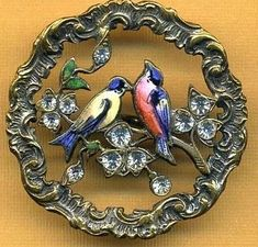 Beautifully Enameled Openwork Metal Button With Pretty Pastes.