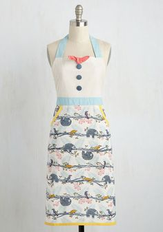 Slow-Cooked to Perfection Apron - Multi, Print with Animals, Print, Critters, Bird, Better, Cotton, Bows, Buttons, Pockets, Vintage Inspired, Woodland Creature, Spring, Summer, Fall, Winter, Gals, Quirky