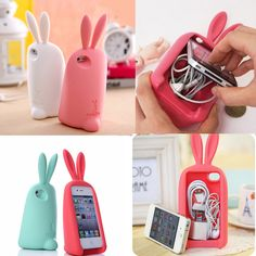 Image of 3D rabbit storage headphone cable Case For Iphone 4/4S/5