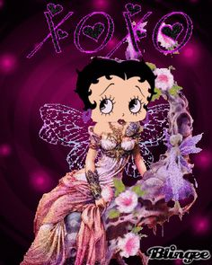 Betty Boop in white/purple dress photo by galinnm Betty Boop Tattoos, Black Betty Boop, Brown Betty, Boop Gif, Gothic, Betty Boop Pictures, Beautiful Fairies, Beautiful Gif, Beautiful Butterflies
