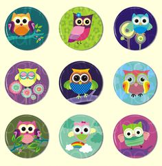 Flat Back Cabochons - Cute Owl Buttons Kawaii Grab Bag - Set of 9 - 1 inch (Set A) - product images  of