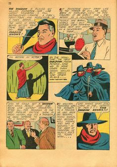 The Shadow made his longest run in comics books in this series published by Street & Smith.  This page from 1942 was part of a brief history of The Shadow's radio program.