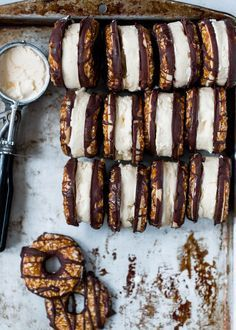 Homemade Samoas Ice Cream Sandwich Cookies