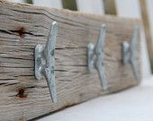 Nautical coat rack with boat cleats, made from reclaimed wood. $39.99, via Etsy.
