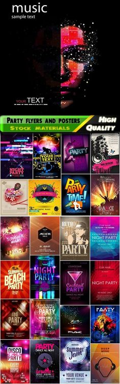 Party flyers and posters for laser disco show 2 - 25 Eps