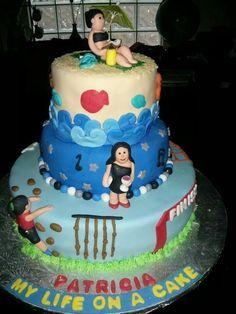Party girl, spartan girl & beach girl cake