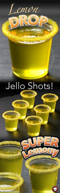 LEMON DROP JELLO SHOTS - Lemon jello, plus lemon citron vodka equals FREAKING AWESOME. These are better than real lemon drop shots. These things are addictive, so watch out! Make sure you use lemon flavored vodka, or you will be missing out on what I am l Cocktails, Party Drinks, Cocktail Drinks, Fun Drinks, Yummy Drinks, Cocktail Recipes, Alcoholic Drinks, Mixed Drinks, Drinks Alcohol
