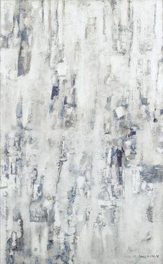 """Maria Helena Vieira da Silva (Portuguese, 1908-1992), Peinture blanche, bleue, 1959. Oil on canvas, 116 x 73 cm. """