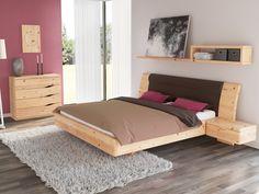 """Schlafzimmer aus Massivholz Zirbe mit Zirbenbett """"Nadine"""" 180 x 200 cm mit breiten Nachttischen"""