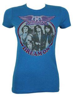Aerosmith Träum weiter Damen T-Shirt blau. Offiziell lizenziert #t-shirt #