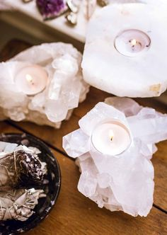 Clear Quartz Cluster Candleholder by SoulMakes