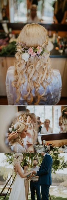 17 Modern Romantic Half-Up Hairstyles for Your Wed. 17 Modern Romantic Half-Up Hairstyles for Your Wedding Spring flowers and princess curls for this half-up bridal hairstyle Wedding Curls, Wedding Hair Flowers, Flowers In Hair, Spring Flowers, Boho Wedding Hair Half Up, Bridal Hair Half Up With Veil, Boho Flowers, Bridal Flowers, Bridal Bouquets