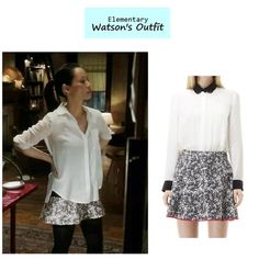 """Lucy Liu as Joan Watson in Elementary - """"Risk Management"""" (Ep. 122). Looks like Watson is wearing a hemmed version of the Tavie skirt. Watson's Outfit:Club Monaco """"Tavie"""" Skirt $129.50 $99here 