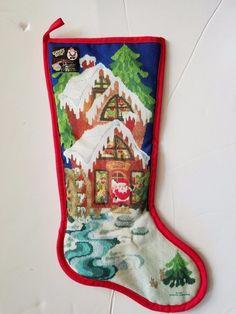 VTG Christmas Stockings Santa's Best faux needlepoint Toy Shop 1985