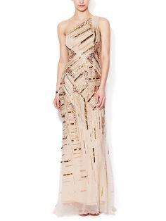 Silk One Shoulder Embellished Gown by Carolina Herrera at Gilt
