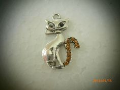 Silver Pewter Cat Charm with Light Topaz by CustomCraftJewelry, $7.99