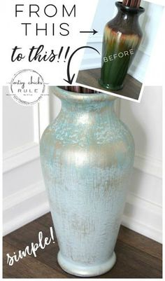 Vase Makeover (update old decor!) Update OLD Decor. SO simple to give your dated decor a brand new look! Try this on your dated decor, you won't believe the difference! Ceramic Painting, Diy Painting, Painting Vases, Furniture Makeover, Diy Furniture, Diy Painted Vases, Home Crafts, Diy Home Decor, Old Vases