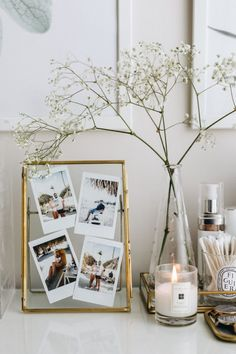 Glass Picture Frame Decor Ideas - Stripes and Vibes Glass picture frame decor w. Glass Picture Frame Decor Ideas - Stripes and Vibes Glass picture frame decor with polaroids, Apartment decor, House interior, House design, Golden int Glass Picture Frames, Polaroid Picture Frame, Polaroid Ideas, Polaroid Wall, Polaroid Display, Diy Picture Frames On The Wall, Polaroid Pictures Display, Polaroid Decoration, Modern Picture Frames