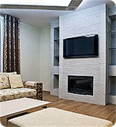 like the idea of tv above ventless fireplace Tv Installation, Video Surveillance Cameras, Modern Interior, Family Room, Modern Fireplaces, Loft, Cabin, Living Room, Wall