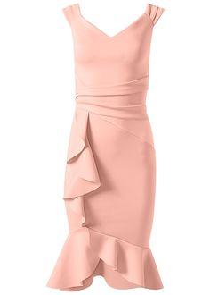 Ruffle Detail Dress in Blush Apron Dress, Ruffle Dress, Dress Up, Ruffles, Wrap Dress, Formal Dress Shops, Formal Dresses, Cocktail Dresses With Sleeves, Blush Cocktail Dress
