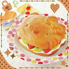 Take a break and eat this cute Hello Kitty fruit cake !  I hope everyone is having a nice day♡