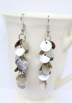 Mother of Pearl Disc Long Dangle Cluster Bunch by Summerwrist, $6.50