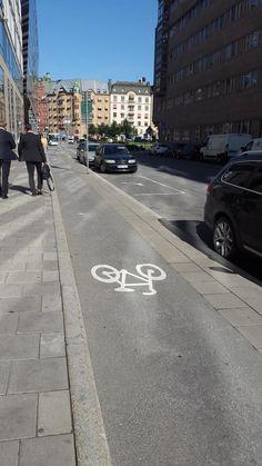 Elegant and well-protected (if somewhat narrow) bike lane in Stockholm, Sweden. Click to tweet via @copenhagenize & visit the slowottawa.ca boards >> http://www.pinterest.com/slowottawa/