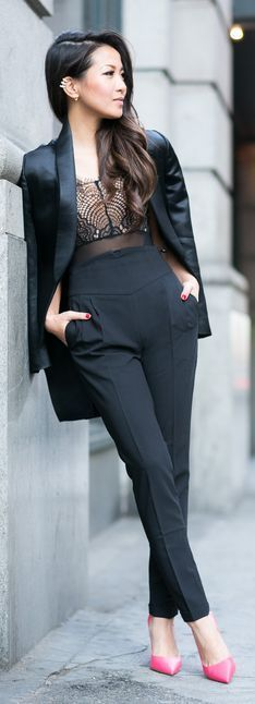 Chic Blazer with Lace Bodysuit Outfits and Pink Pu...