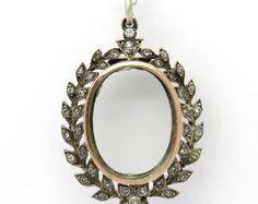 RESERVED - Antique Silver, Rose Gold and Paste Laurel Wreath Locket