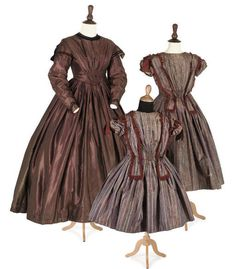 Mother and daughter's ensembles, mid 19th century, via Christie's.