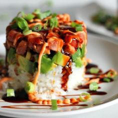 This easy recipe for a spicy seared tuna tower will completely blow you away - it& shockingly simple but makes an incredible presentation and tastes great. Tuna Recipes, Seafood Recipes, Asian Recipes, Cooking Recipes, Healthy Recipes, Delicious Recipes, Seared Tuna, Seared Ahi Tuna Recipe, Spicy Tuna Recipe