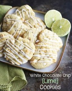 White Chocolate Chip {Lime} Cookies - Amazingly delicious white chocolate chip cookies with added surprise of a kick of lime - perfection! Lime Cookie Recipes, Cookie Desserts, Just Desserts, Delicious Desserts, Dessert Recipes, Yummy Food, Biscuits, White Chocolate Chip Cookies, Chocolate Cake