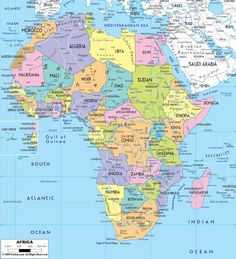 large map of africa | Large detailed political map of Africa with all roads.