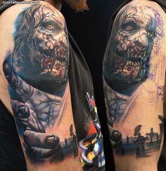 Tatuaje de zombi hecho por Jaroslav Snejdar, de Lleida (España). Si quieres ponerte en contacto con él para un tatuaje visita su perfil: http://www.zonatattoos.com/yarda  #tatuajes #tattoos #ink