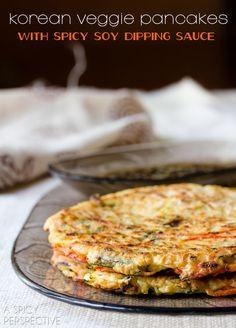 Korean Pancakes - Pajun (Pajeon) with Spicy Soy Dipping Sauce | ASpicyPerspective.com #korean #vegetarian #appetizer