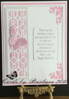 Phills Crafty Place: Graceful Pink and White - Featuring The Bracket Birthday Verse Stamps Special Birthday Wishes, Very Happy Birthday, Birthday Verses, Birthday Cards, Tattered Lace Cards, Spellbinders Cards, Card Sentiments, Butterfly Cards, Pretty Cards
