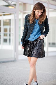 pair a fun, sequined skirt with a casual chambray top #fashion #sequins