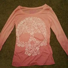 Floral sugar skull long sleeve top Ombre pink cute sugar skull long sleeve top target Tops Tees - Long Sleeve