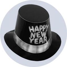 new years hats deluxe black with silver